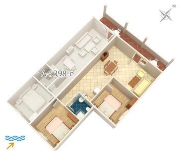 Njivice, План в размещении типа apartment, Домашние животные допускаются и WiFi.