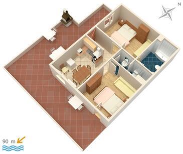Vrbnik, Půdorys v ubytování typu apartment, domácí mazlíčci povoleni.