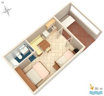 Vrbnik, Půdorys v ubytování typu studio-apartment, domácí mazlíčci povoleni.