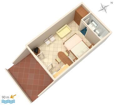 Vrbnik, Plan kwatery w zakwaterowaniu typu studio-apartment, dopusteni kucni ljubimci.