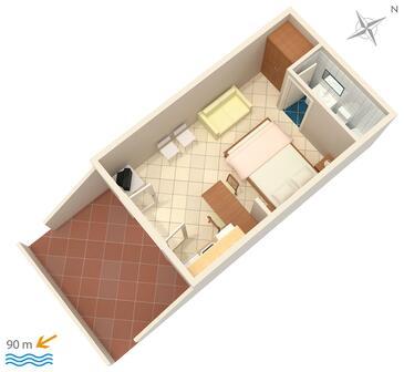 Vrbnik, Plan kwatery w zakwaterowaniu typu studio-apartment, zwierzęta domowe są dozwolone.