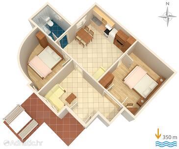 Baška, Plan in the apartment, dopusteni kucni ljubimci.