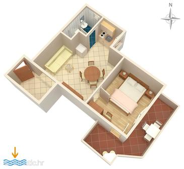 Baška, Plan in the apartment.
