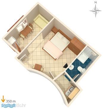 Baška, Plan in the studio-apartment, dopusteni kucni ljubimci.