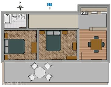 Vrboska dvosobni apartman s terasom i pogledom na more a for Apartment wifi plans
