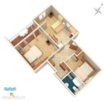 Punat, Alaprajz szállásegység típusa apartment, háziállat engedélyezve és WiFi .