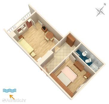 Punat, План в размещении типа apartment, Домашние животные допускаются и WiFi.