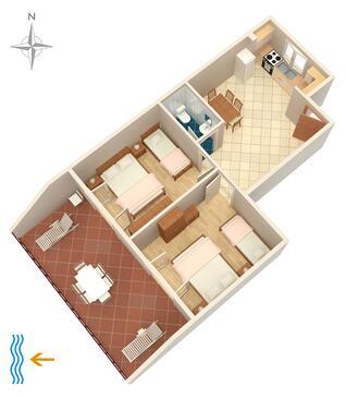 Punat, Půdorys v ubytování typu apartment, domácí mazlíčci povoleni.