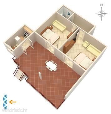 Punat, plattegrond in the apartment, (pet friendly).