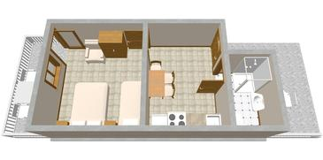 Basina, Plan in the studio-apartment, dopusteni kucni ljubimci i WIFI.