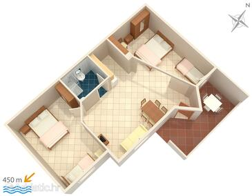 Krk, Plan in the apartment, (pet friendly) and WiFi.