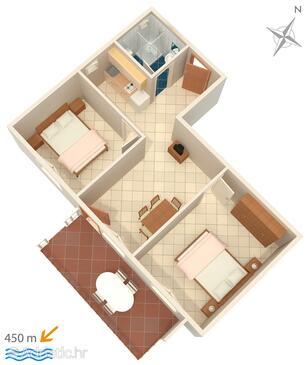 Krk, Půdorys v ubytování typu apartment, domácí mazlíčci povoleni a WiFi.