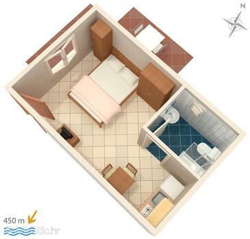 Krk, Nacrt u smještaju tipa studio-apartment, kućni ljubimci dozvoljeni i WiFi.
