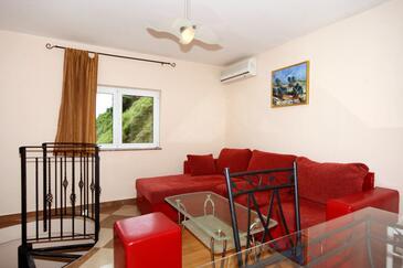 Vrbnik, Pokój dzienny w zakwaterowaniu typu house, dostupna klima, dopusteni kucni ljubimci i WIFI.