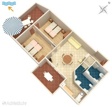 Njivice, Plan in the apartment, dopusteni kucni ljubimci i WIFI.