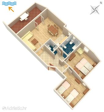 Njivice, Plan in the apartment, (pet friendly) and WiFi.