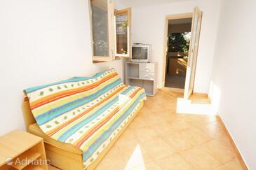 Baška, Living room in the apartment, dopusteni kucni ljubimci.