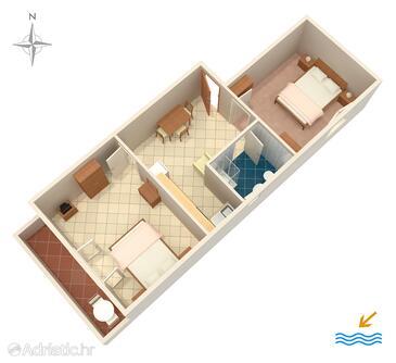 Stara Baška, Plan in the apartment, WIFI.