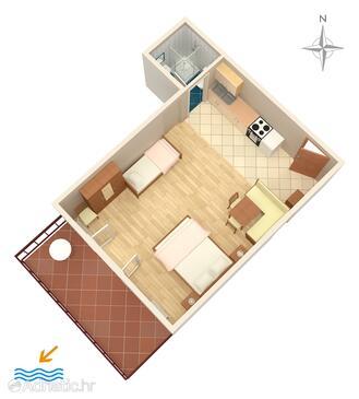 Stara Baška, Plan in the studio-apartment, WIFI.