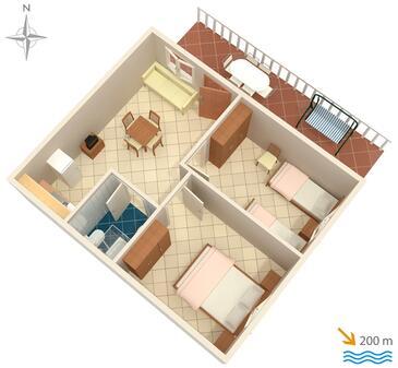 Baška, Půdorys v ubytování typu apartment, dopusteni kucni ljubimci i WIFI.