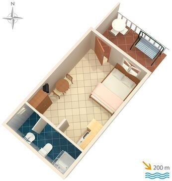 Baška, Půdorys v ubytování typu studio-apartment, domácí mazlíčci povoleni a WiFi.
