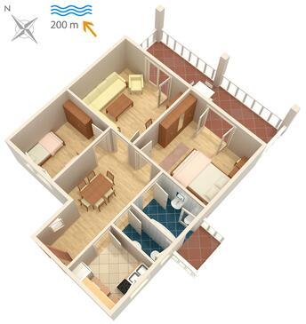 Malinska, Plan in the apartment, WIFI.