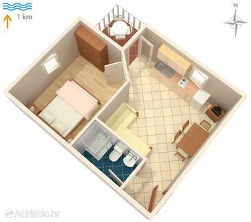 Malinska, Plan in the apartment, dopusteni kucni ljubimci.