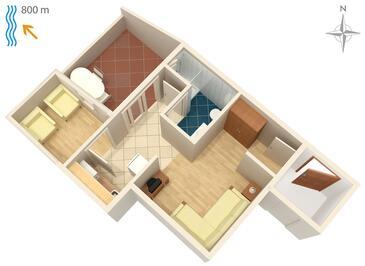 Njivice, Pôdorys v ubytovacej jednotke apartment, WIFI.