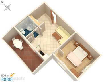 Njivice, Nacrt u smještaju tipa apartment, WiFi.