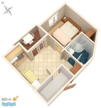 Njivice, Načrt v nastanitvi vrste apartment, WiFi.