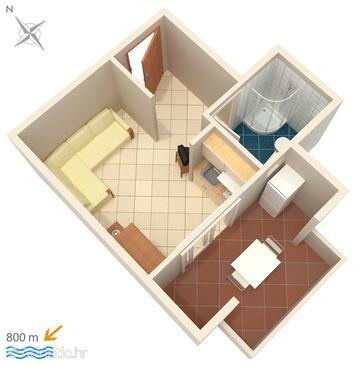 Njivice, Nacrt u smještaju tipa studio-apartment, WiFi.