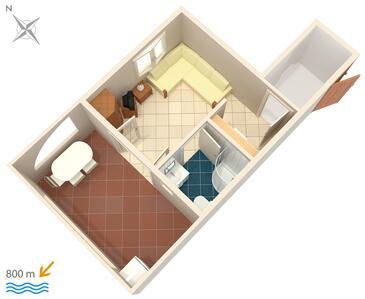 Njivice, Načrt v nastanitvi vrste studio-apartment, WiFi.