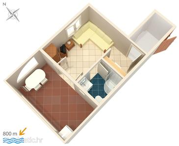 Njivice, Plan kwatery w zakwaterowaniu typu studio-apartment, WiFi.