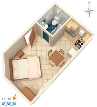 Stara Baška, Plan in the studio-apartment.