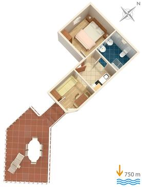 Čižići, Půdorys v ubytování typu apartment, domácí mazlíčci povoleni a WiFi.