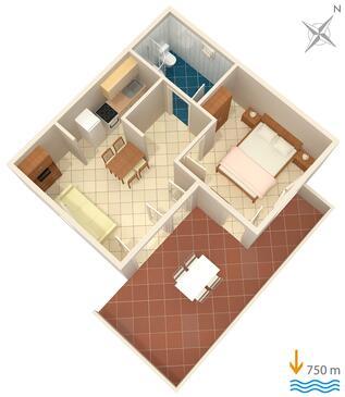 Čižići, Plan kwatery w zakwaterowaniu typu apartment, dopusteni kucni ljubimci i WIFI.
