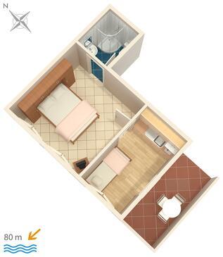 Zavalatica, Plan kwatery w zakwaterowaniu typu studio-apartment, WiFi.