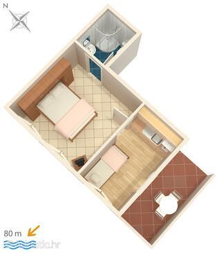 Zavalatica, Plan in the studio-apartment, dopusteni kucni ljubimci i WIFI.