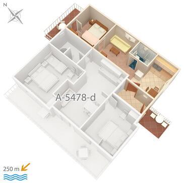 Crikvenica, Plan kwatery w zakwaterowaniu typu apartment, dopusteni kucni ljubimci i WIFI.
