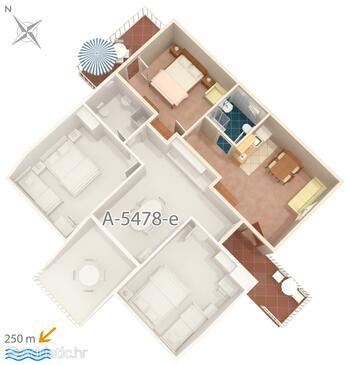 Crikvenica, План в размещении типа apartment, Домашние животные допускаются и WiFi.