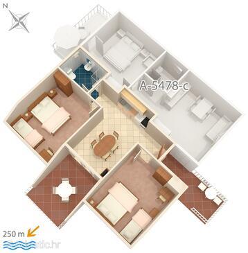 Crikvenica, Půdorys v ubytování typu apartment, domácí mazlíčci povoleni a WiFi.