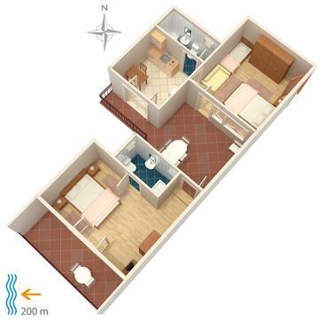 Selce, Pôdorys v ubytovacej jednotke apartment, dopusteni kucni ljubimci i WIFI.