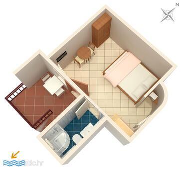 Novi Vinodolski, План в размещении типа studio-apartment, Домашние животные допускаются и WiFi.