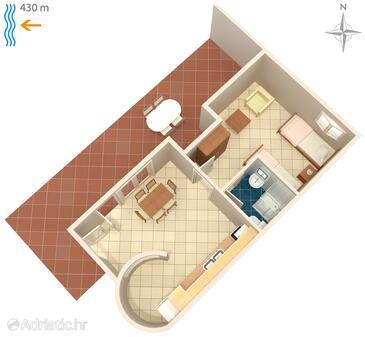 Klenovica, Půdorys v ubytování typu apartment, domácí mazlíčci povoleni a WiFi.