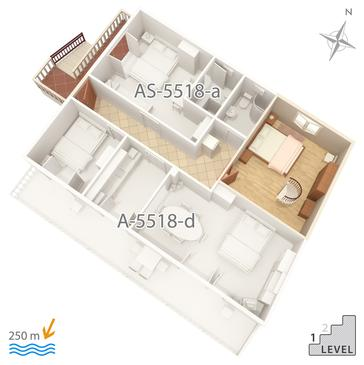 Selce, Plan kwatery w zakwaterowaniu typu apartment, WiFi.