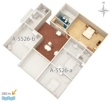 Novi Vinodolski, Plan kwatery w zakwaterowaniu typu studio-apartment, WIFI.