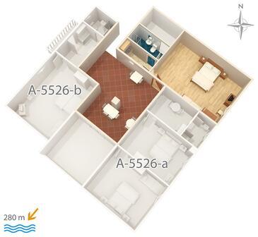 Novi Vinodolski, Půdorys v ubytování typu studio-apartment, WiFi.