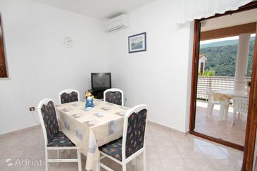 Duga Luka (Prtlog), Dining room in the apartment, air condition available and WiFi.