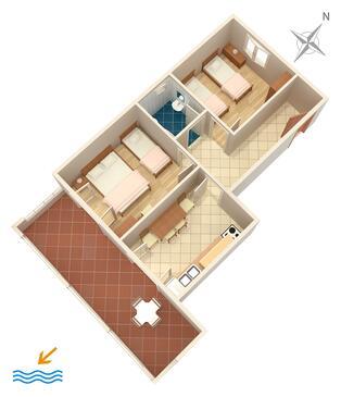 Zavala, Grundriss in folgender Unterkunftsart apartment, Haustiere erlaubt und WiFi.