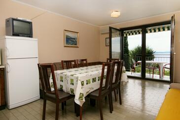 Klenovica, Dining room in the apartment, dostupna klima i WIFI.